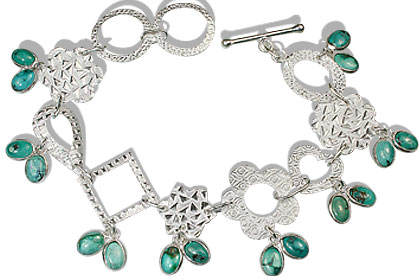 Design 12976: green turquoise contemporary bracelets
