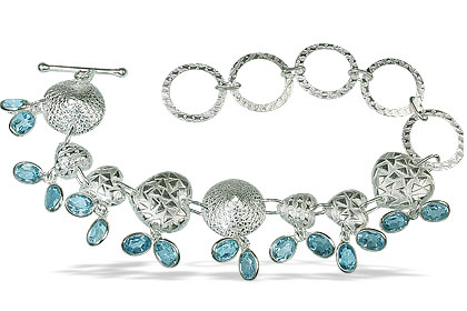 Design 13036: blue,gray blue topaz contemporary, heart bracelets