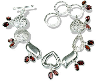 Design 13037: gray,red garnet contemporary bracelets