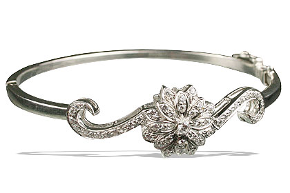 Design 13331: white cubic zirconia bangles, estate, flower bracelets