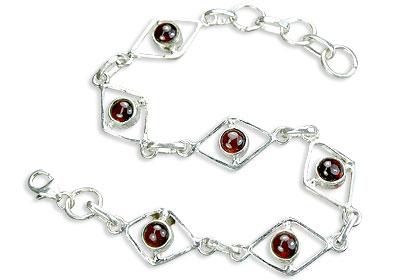 Design 14494: red garnet contemporary bracelets