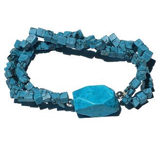 Design 14912: blue turquoise stretch bracelets