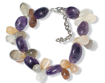 Design 14916: orange,purple,multi-color moonstone stretch bracelets
