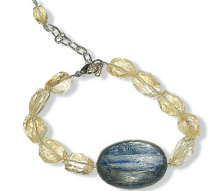 Design 14921: blue,yellow kyanite bracelets