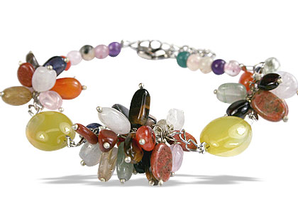 Design 14991: yellow,multi-color multi-stone cha-cha bracelets
