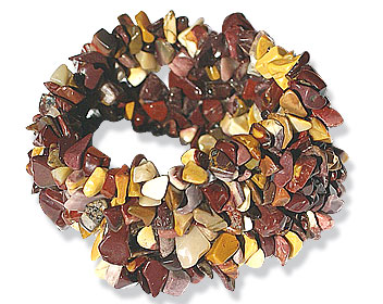 Design 15125: brown,yellow,multi-color jasper chipped bracelets