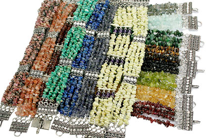 Design 16196: multi-color bulk lots chipped bracelets