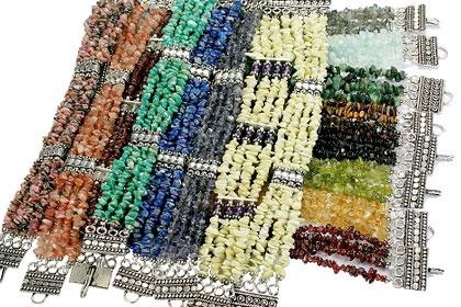 Design 16196: multi-color bulk lots chipped bracelets
