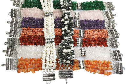 Design 16197: multi-color bulk lots chipped bracelets