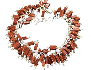 Design 16453: red aventurine clustered bracelets