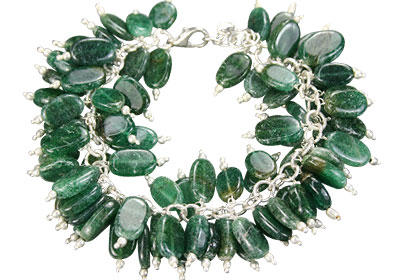 Design 16478: green aventurine clustered bracelets