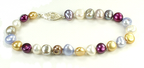 Design 9341: white,silver,gold,blue,purple pearl bracelets