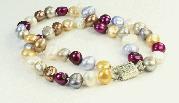 Design 9342: blue,purple,white pearl multistrand bracelets