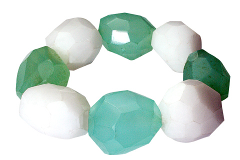 Design 9718: White, Green snow quartz american-southwest, chunky, stretch bracelets