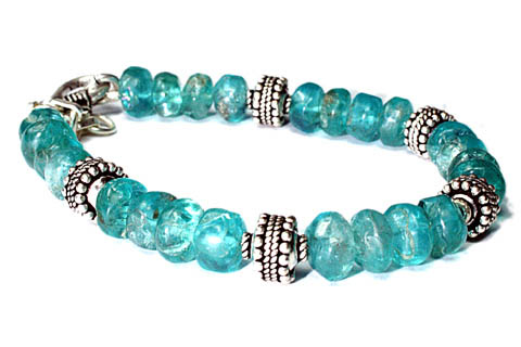 Design 9727: blue,green apatite ethnic bracelets
