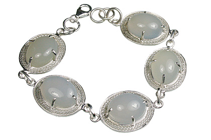 Design 9979: blue,gray,white chalcedony bracelets