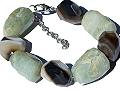 Design 15777: brown,green,white prehnite chunky bracelets