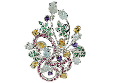 Design 11640: multi-color multi-stone leaf-vine brooches