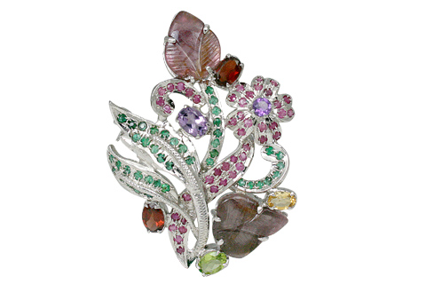 Design 11641: green,pink multi-stone flower brooches