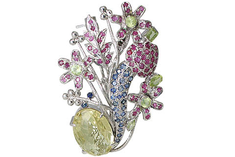 Design 11642: blue,green,pink multi-stone flower brooches