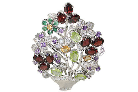 Design 11643: green,red,white multi-stone flower brooches