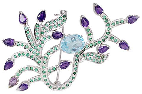 Design 11644: blue,green,purple amethyst leaf-vine brooches