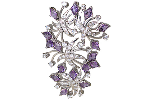 Design 11646: purple,white amethyst flower brooches