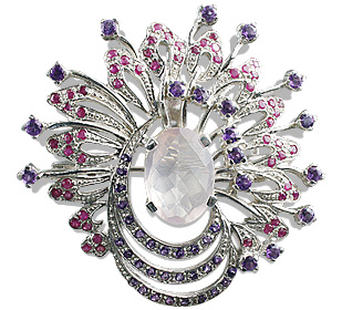 Design 12447: pink,purple,red rose quartz pendant brooches