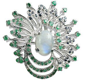 Design 12449: blue,green,white moonstone estate brooches