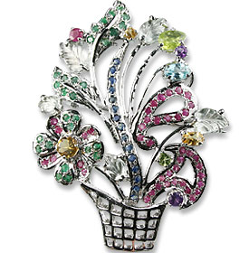 Design 13587: pink,white,multi-color multi-stone flower, pendant brooches