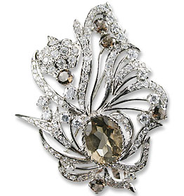Design 13590: brown,white multi-stone leaf-vine brooches
