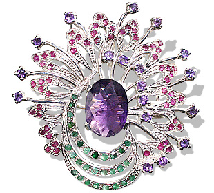 Design 7506: green,pink,purple amethyst pendant brooches