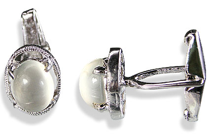 Design 14802: white moonstone cufflinks