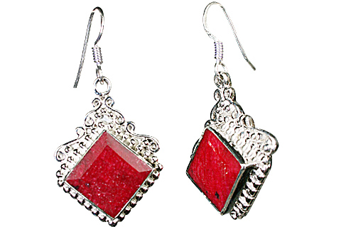 Design 10123: pink,red ruby estate earrings