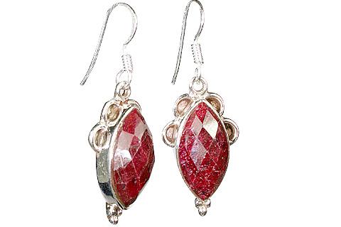 Design 10135: pink,red ruby staff-picks earrings