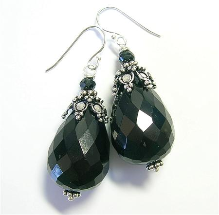 Design 10234: black onyx chunky earrings