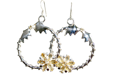 Design 10370: yellow citrine flower earrings