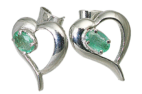 Design 10509: green emerald heart, post, studs earrings