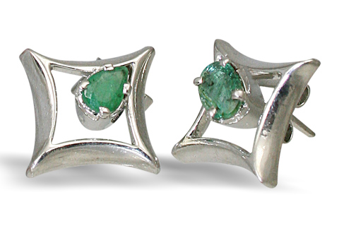 Design 10510: green emerald art-deco, post earrings