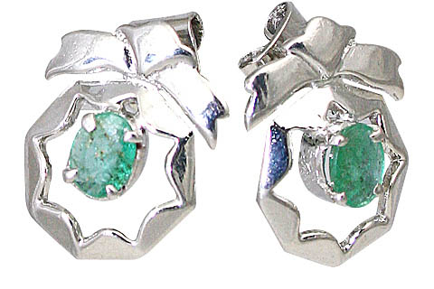 Design 10511: green emerald art-deco, post earrings