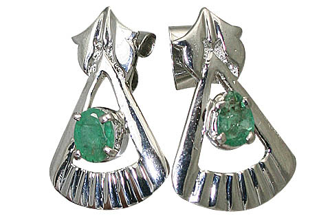 Design 10513: green emerald art-deco, post earrings