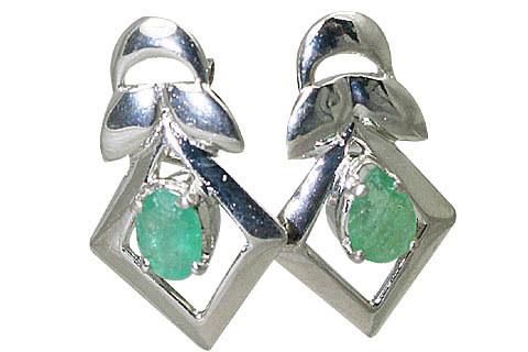 Design 10514: green emerald art-deco, post earrings