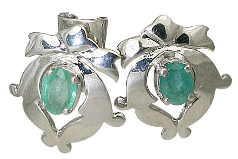 Design 10515: green emerald art-deco, post earrings