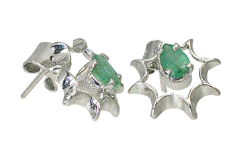 Design 10516: green emerald art-deco, post earrings