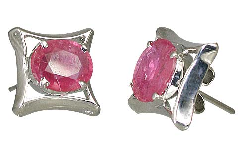 Design 10520: pink ruby art-deco, post earrings