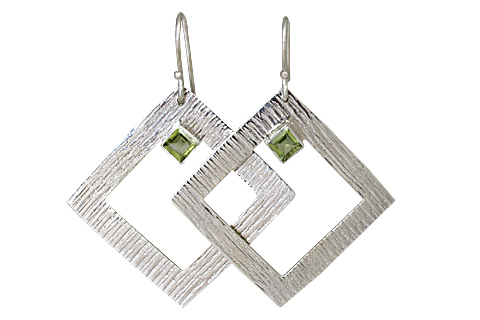 Design 10695: green peridot art-deco earrings
