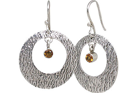 Design 10698: yellow citrine art-deco, hoop earrings