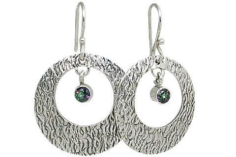 Design 10700: multi-color mystic quartz art-deco, hoop earrings