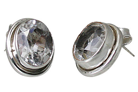 Design 10755: white white topaz post earrings