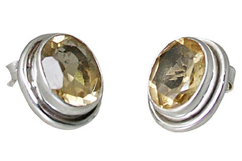 Design 10757: yellow citrine post earrings